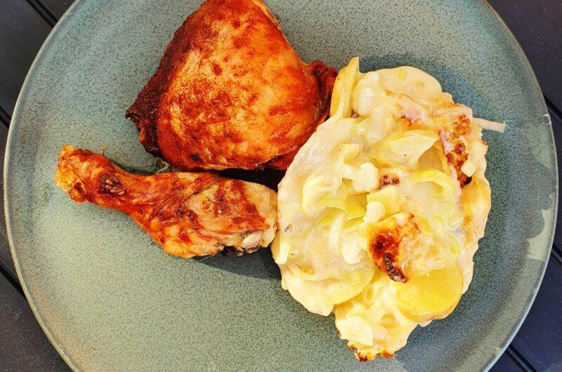 Ovnstegte BBQ kyllingelår samt flødekartofler med blomkål og porre