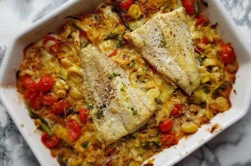 Fiskefad med sejfilet, grønt og fuldkornspasta