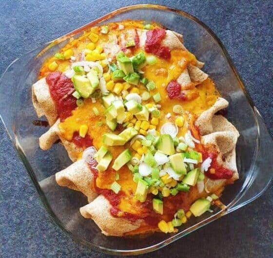 Enchiladas med vegetarisk linsefyld