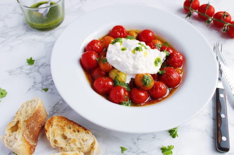 Bagte tomater med burrata og persilleolie