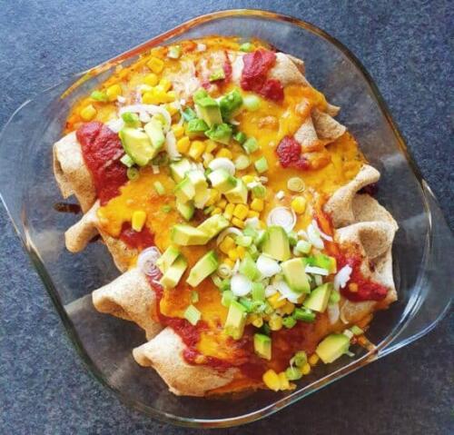 Enchiladas med oksekødsfyld