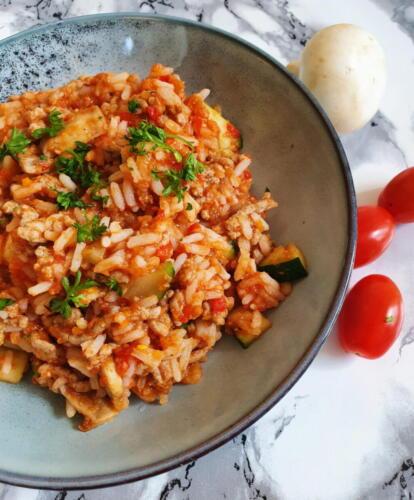 One pot risret med oksekød og grønt