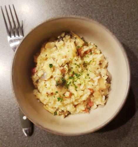 """Cremet """"snyde"""" risotto med champignon, blomkål og parmesan"""