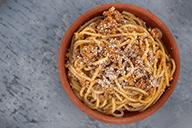 Fuldkornsspaghetti m. grøntsagskødsauce